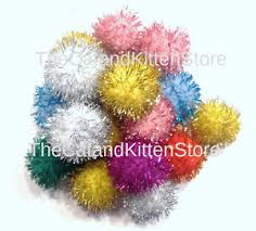 10 sparkle cat toys glitter pom poms 1 kitten balls craft