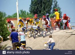 motocross bmx bikes boys prepare for start of bicycle motocross bmx race at ymca track
