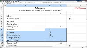 Simple Profit And Loss Excel Template A Level Accounting Trading Profit And Loss Account Balance Sheet