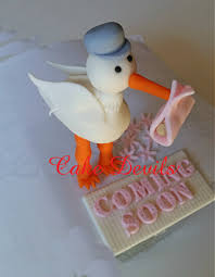 stork cake topper stork baby shower cake topper kit handmade edible fondant 3d