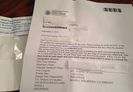 letter from nvc updated mailing email address for this case