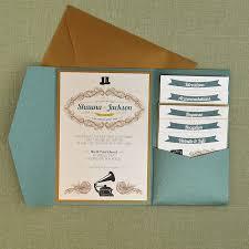 Wedding Invitation Pocket Envelopes Vintage Jade And Antique Gold Wedding Pocket Invitation Pocket