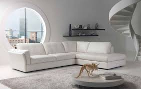 Round Fur Rug by Corner White Leather Couches With Arm Rest And Back Plus Combined