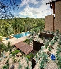 prepossessing desert landscaping plants with pool for modern style