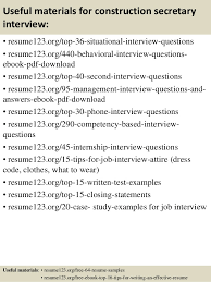 top 8 construction secretary resume samples