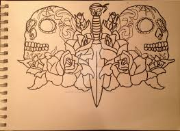 sugar skull roses and a dagger design by heyshiftydontmiss