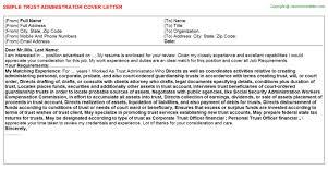admin cover letter exles trust administrator cover letter