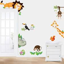 stickers animaux chambre b jungle sauvage animaux de bande dessinée vinyle stickers muraux