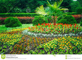 garden landscaping design flower bed green trees stock photo royalty free stock photo download garden landscaping design