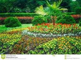 Landscape Flower Garden by Garden Landscaping Design Flower Bed Green Trees Stock Photo