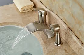 Handheld Bathtub Faucet Brushed Nickel Waterfall Roman Bathtub Mixer Faucet Set With Hand