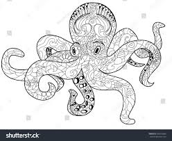 octopus sea animal coloring book adults stock vector 392533066
