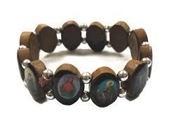 saints bracelet wooden saints bracelet w rosary card theactsstore
