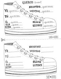 e to ie stem changing spanish shoe verb chart boot verb worksheet