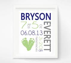 Navy And Green Nursery Decor Baby Boy Birth Announcement Wall Navy By Pitterpatterprint