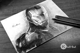 pencil drawing iron man by kiwihiwi on deviantart