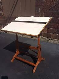 Wood Drafting Table Vintage Oak Wood Drafting Table W Two Drawers 4 Post For Solid