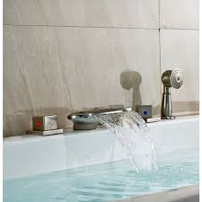 bathtub faucet shower attachment nickel finish roman tub faucet mixer tap with hand held shower head
