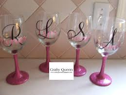 wine glass with initials glitter stemmed wine glasses with initial amp name i do custom