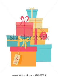 big pile colorful wrapped gift boxes stock vector 492968005