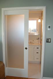 Wood Sliding Closet Door by Single White Wooden Sliding Glass Door With Frozen Glass On The