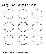 telling time half hour free telling time worksheets clock time to half hour