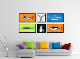 fish art orange home decor wall decoration nautical beach