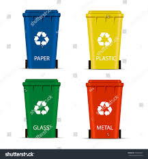 realistic set recycle bins trash garbage stock vector 539299645
