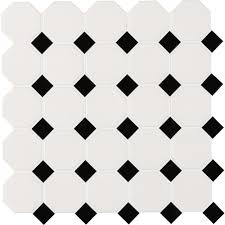 octagon tile flooring the home depot white and black octagon 12 in x 12 in x 6 mm porcelain mesh