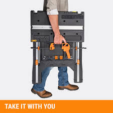 Workmate Reloading Bench Shop Worx Pegasus 31 In W X 32 In H Plastic Work Bench At Lowes Com