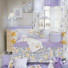 Lavender And Grey Crib Bedding Baby Purple Lavender Yellow Floral Grey Crib Nursery Quilt
