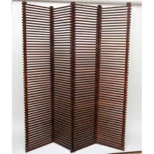 wood slat mid century modern solid wood slat room divider chairish