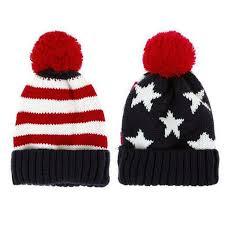us flag knit beanie crochet rib pom pom hat cap blue u0026 red in