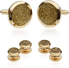 gold studs gold diamond dust tuxedo cufflinks and studs cuff