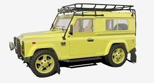 land rover defender 90 yellow 3d land rover defender cgtrader
