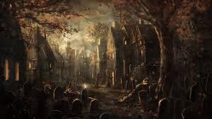 jack o lantern desktop wallpaper holidays halloween night cemetery house tomb jack o lantern