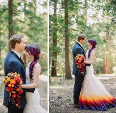 color wedding dresses dip dyes wedding gown to add an splash of