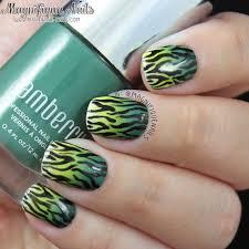 magically polished nail art blog green ombre zebra print