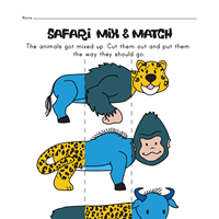 animal mix and match worksheets all kids network