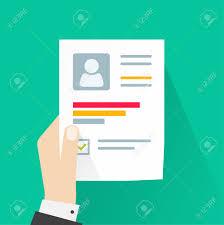 Resume Vector Cv Application Paper Sheet Business Man Hand Holding Resume