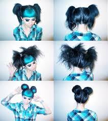 1 part hair in half put it into pig tails pony tails with small