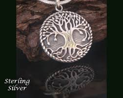 design necklace pendant images Tree of life necklace pendant engravable convex design silver gif