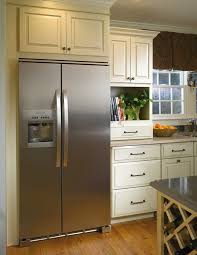 Kitchen Cabinet Refrigerator Appliance Adorable Glossy Wood Floor With Grey Cabinet Kitchen