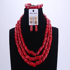 wholesale beaded necklace images 2018 wholesale new arrival african wedding jewelry set red coral jpg