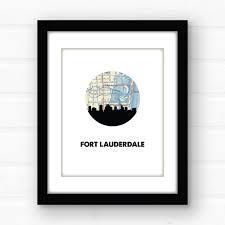 Fort Lauderdale Florida Map by Fort Lauderdale Florida Map Print Florida Beach Decor