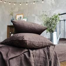 Chocolate Bed Linen - chocolate brown stonewashed slip linen sheet set len ok