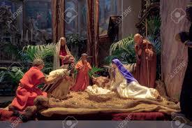 christmas nativity scene with the figurines of mary joseph
