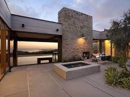 modern wood tone california house design focused on patio with