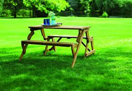 rectangle portable wooden picnic table with folding seats and