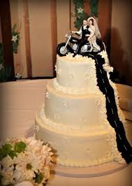 motorcycle wedding cake toppers picture of three tiered cake with original cake topper